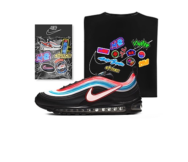 "Nike Air Max 97 ""Neon Seoul"" BlackReflect Silver Blue"
