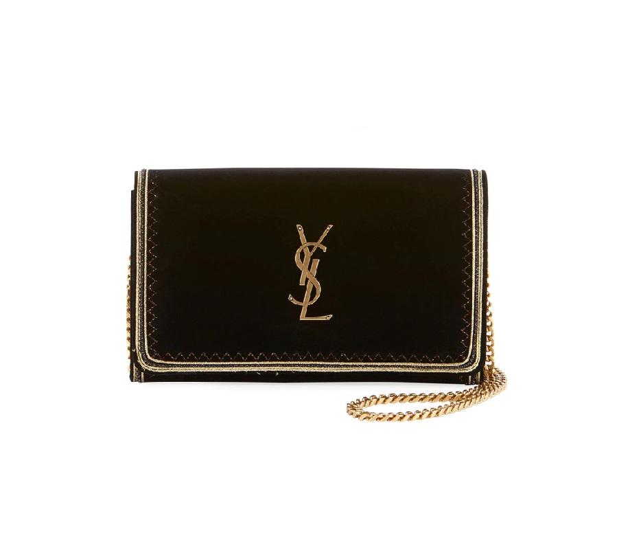 Saint Laurent Monogrom YSL Flap Velvet Chain Wallet Black/Gold