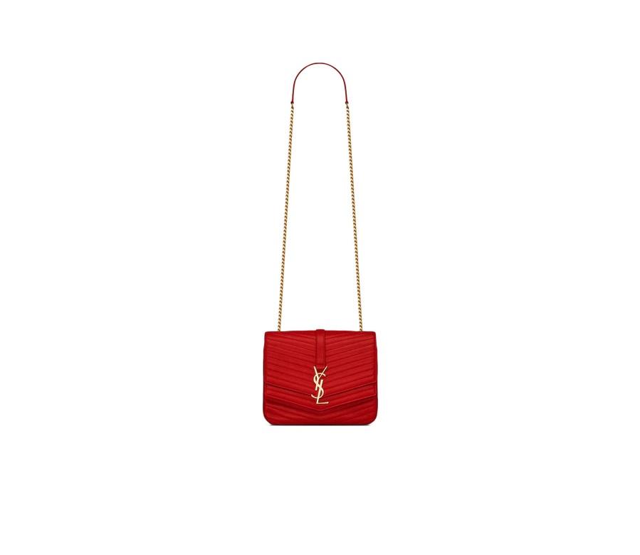 Saint Laurent Sulpice Quilted Lambskin Gold-tone Medium Bandana Red