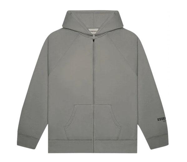 피어오브갓 에센셜 풀 짚업 후디 차콜 / FEAR OF GOD ESSENTIALS 3D Silicon Applique Full Zip Up Hoodie Gray Flannel/Charcoal