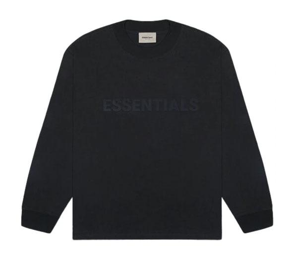 피어오브갓 에센셜 박시 롱슬리브 블랙 / FEAR OF GOD ESSENTIALS 3D Silicon Applique Boxy Long Sleeve T-Shirt Dark Slate/Stretch Limo/Black