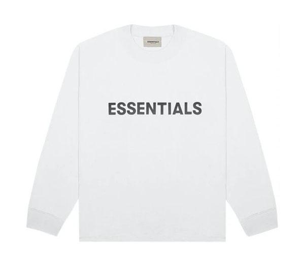 피어오브갓 에센셜 박시 롱 슬리브 티셔츠 화이트 / FEAR OF GOD ESSENTIALS 3D Silicon Applique Boxy Long Sleeve T-Shirt White