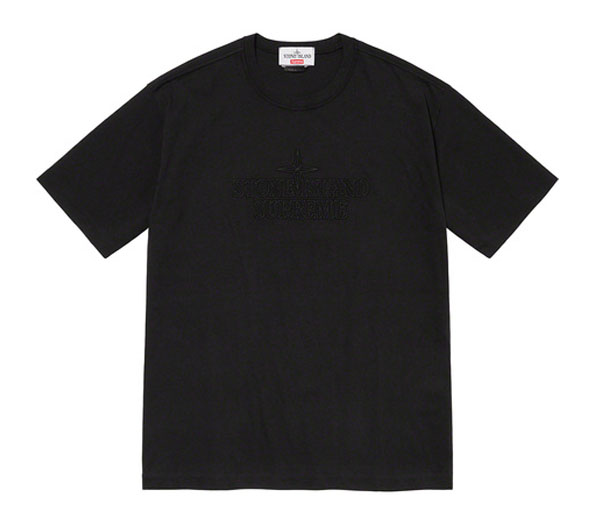 슈프림 X 스톤 아일랜드 임브로이드 로고 반팔 티 블랙 / Supreme X Stone Island Embroidered Logo S/S Top Black