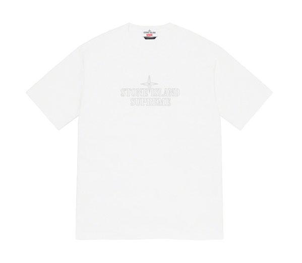 슈프림 X 스톤 아일랜드 임브로이드 로고 반팔 티 화이트 / Supreme X Stone Island Embroidered Logo S/S Top White